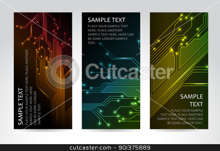 Set of modern technical banners stock vector clipart, Set of modern dark vertical technical banners by orson