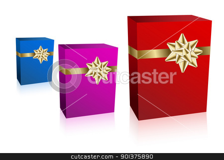 Three gift boxec with golden bow stock vector clipart, Three Christmas / Valentine / Birthday Gift boxes (vector) by orson