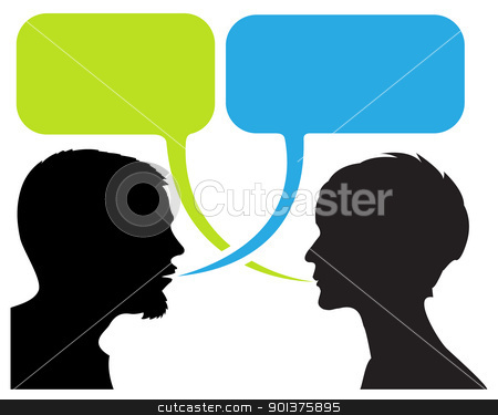 dialogue comic strip with silhouettes stock vector clipart, dialogue comic strip with silhouettes and speech bubbles by orson