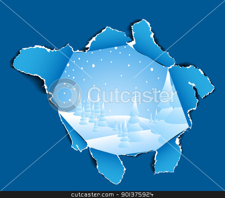 Hole to the winter snowy landscape  stock vector clipart, Hole in the paper to the winter snowy landscape  by orson