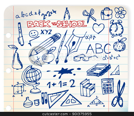 set of school doodle illustrations stock vector clipart, Back to school - set of school doodle illustrations by orson