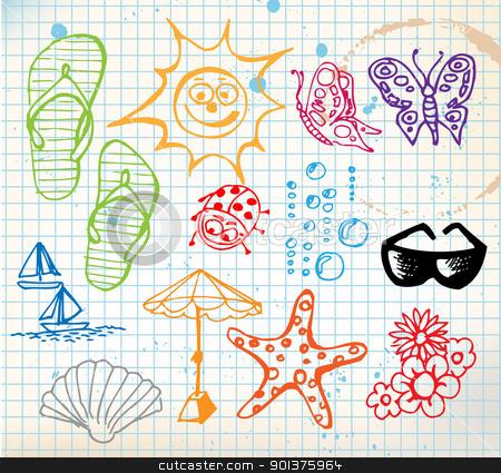 Summer doodle elements stock vector clipart, Summer doodle elements - sun, ocean, flower by orson