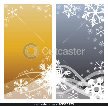 Christmas background  stock vector clipart, Christmas background with white snowflakes and place for your text (two colors, two pages) by orson
