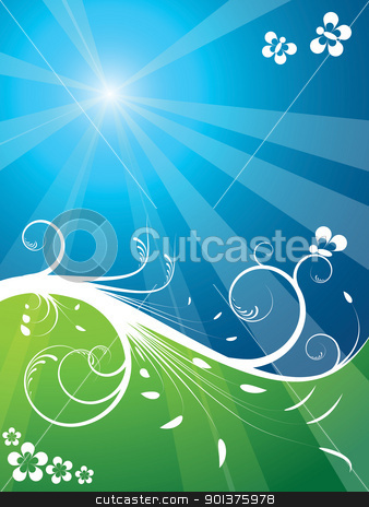 Fresh foliage background stock vector clipart, Fresh foliage background (blue sky and green land) by orson