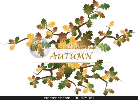 Autumn theme stock vector clipart, Autumn theme with leafs by orson
