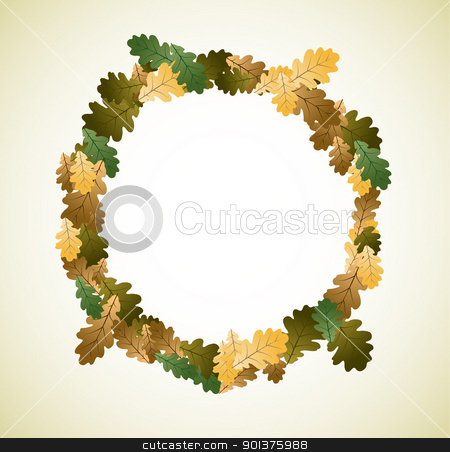 Autumn theme stock vector clipart, Autumn theme made from oak leafs by orson