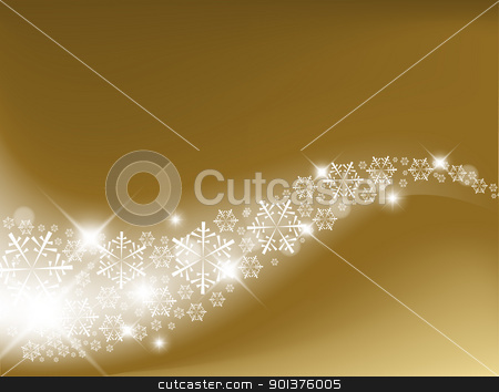 Golden Abstract Christmas background stock vector clipart, Golden Abstract Christmas background with white snowflakes by orson
