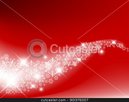 Red Abstract Christmas background stock vector clipart, Red Abstract Christmas background with white snowflakes by orson