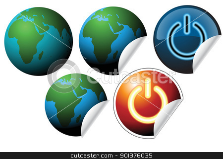 Labels with earth globe  stock vector clipart, Labels with earth globe and power button by orson