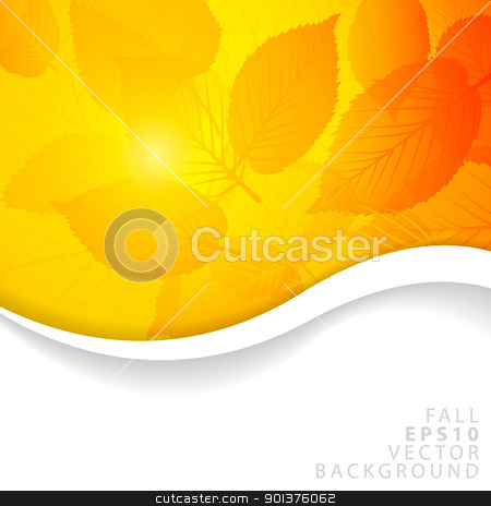 Vector Autumn yellow abstract floral background  stock vector clipart, Vector Autumn abstract floral background with place for your text by orson