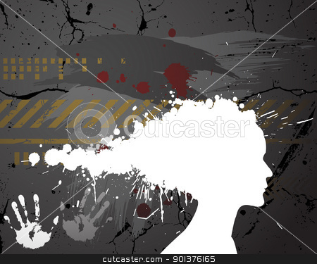 Girl silhouette made from spatters  stock vector clipart, Girl silhouette made from spatters on the grunge background  by orson
