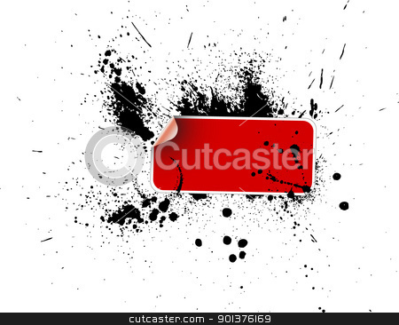 Red sticker on a grunge  stock vector clipart, Red sticker on a grunge background with ink splats by orson
