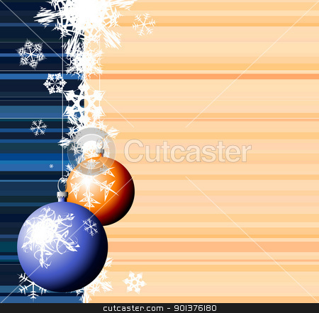 Christmas bulbs with snowflakes  stock vector clipart, Christmas bulbs with snowflakes on stripped background by orson