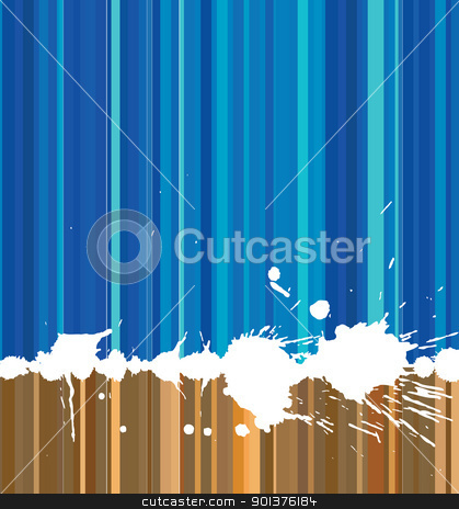 Striped background stock vector clipart, Striped background (blue and brown) with white spots by orson