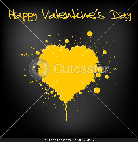 Grunge Valentines day card  stock vector clipart, Grunge Valentines day card - heart from yellow  spatters  by orson