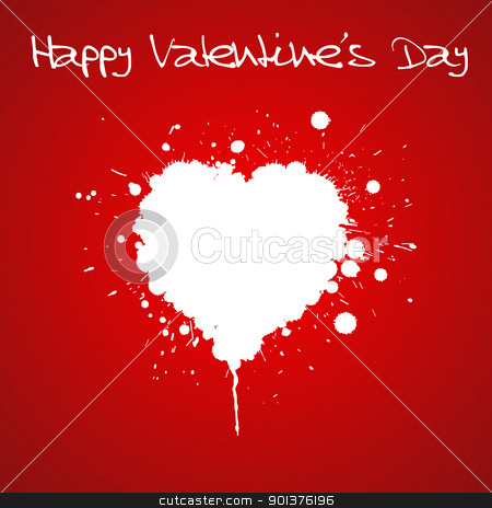 Grunge Valentines day card  stock vector clipart, Grunge Valentines day card - heart from spatters  by orson