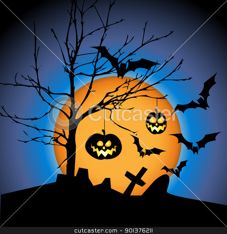 Halloween illustration with pumpkins stock vector clipart, Halloween illustration with pumpkins, bats and big moon  by orson