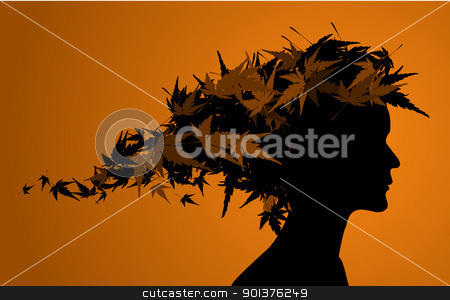 Autumn floral girl silhouette  stock vector clipart, Autumn floral girl silhouette (with hair from leafs)  by orson