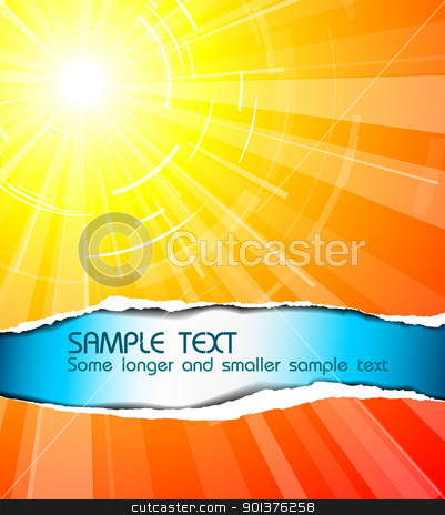The hot summer sun stock vector clipart, The hot summer sun with cool text by orson