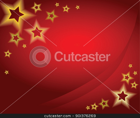 Red christmas background stock vector clipart, Red christmas background / card with golden stars by orson