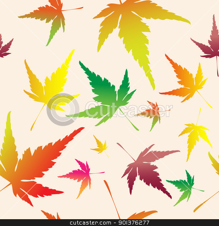 Maple leafs seamless pattern stock vector clipart, Maple leafs texture  - autumn seamless pattern  by orson
