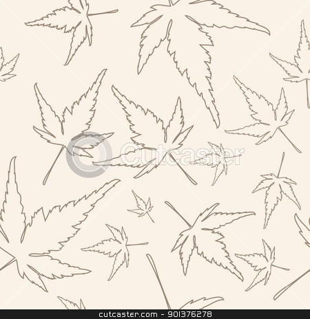 Maple leafs texture stock vector clipart, Maple leafs texture outline drawing - autumn seamless pattern  by orson
