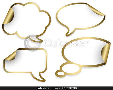 Set of golden Comic Clouds and bubbles stock vector clipart, Set of golden Comic Clouds and bubbles as stickers and labels (vector)  by orson