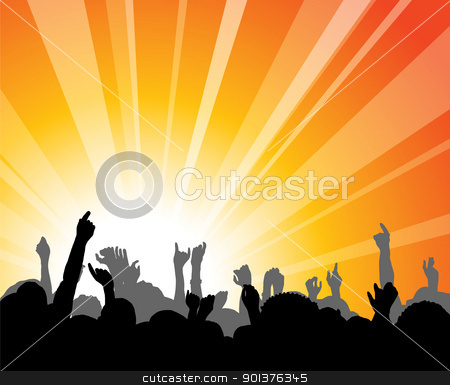 People at the concert stock vector clipart, People at the concert with hands in the backlight by orson