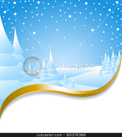Christmas card with snowy landscape stock vector clipart, Christmas card with snowy landscape and golden ribbon by orson
