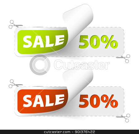 Red and green sale coupons stock vector clipart, Red and green sale coupons (50% discount) by orson
