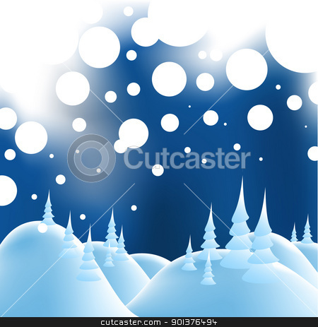 Winter christmas landscape stock vector clipart,  Winter christmas landscape in night with snow flakes  by orson