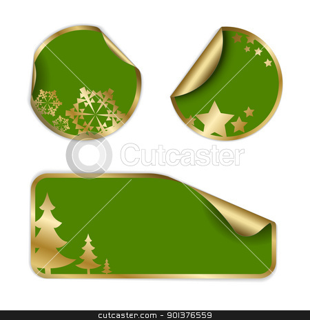 Christmas labels and stickers  stock vector clipart, Christmas labels and stickers (golden and green) by orson