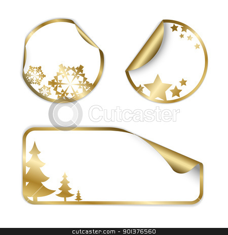 Christmas vector labels and stickers stock vector clipart, Christmas vector labels and stickers (golden and white)  by orson