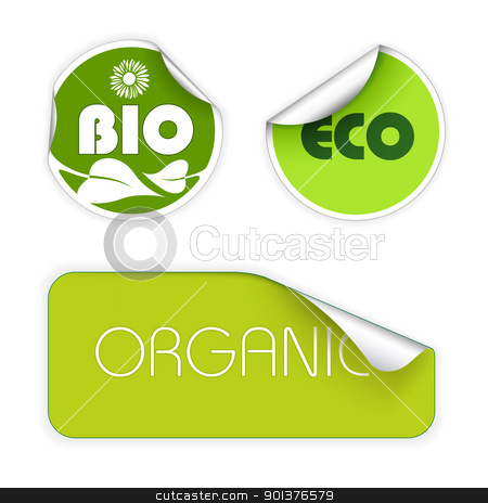 Set of labels for organic food stock vector clipart, Set of labels for organic, fresh, healthy, bio food by orson