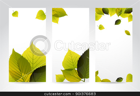 Fresh natural vertical banners with leafs stock vector clipart, Fresh natural vertical banners with leafs and place for your content by orson