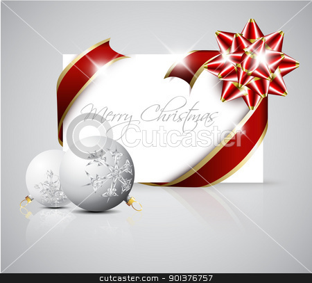 Vector Christmas card stock vector clipart, Vector Christmas card - red ribbon around blank paper with christmas decorations by orson