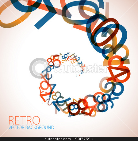 Abstract retro background stock vector clipart, Abstract retro background with colorful rainbow numbers by orson
