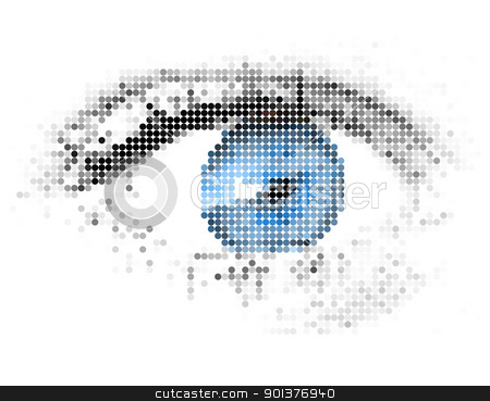 Abstract human - digital - blue eye stock vector clipart, Abstract human - digital - blue eye made from circles by orson