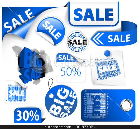 Set of blue discount elements stock vector clipart, Set of blue discount tickets, labels, stamps, stickers, corners, tags (vector) by orson