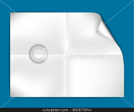 Sheet of folded white paper  stock vector clipart, Sheet of folded white paper on a green background (vector illustration)  by orson