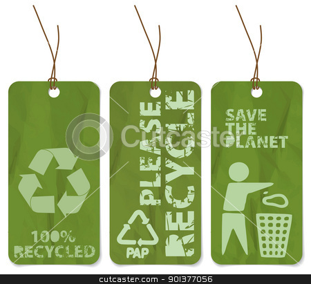 grunge tags for recycling  stock vector clipart, Set of three grunge tags for recycling  by orson