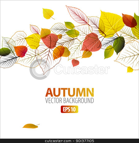 Vector Autumn abstract floral background stock vector clipart, Vector Autumn abstract floral background with place for your text by orson