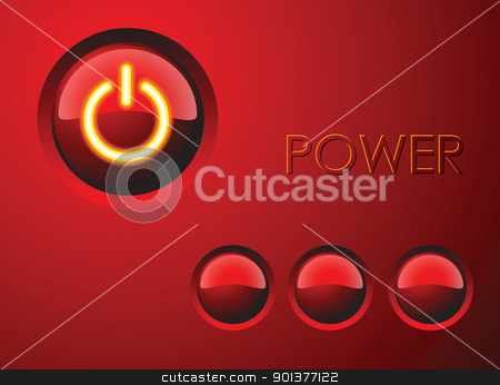 Red power button stock vector clipart, Red power button with three other buttons by orson
