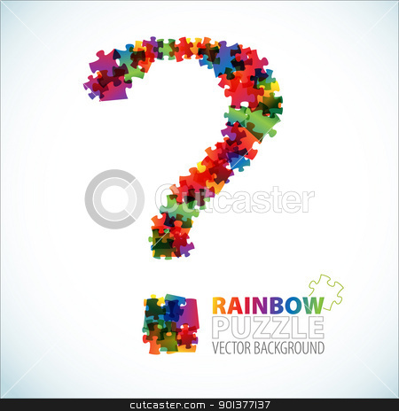 Question mark made from puzzle pieces stock vector clipart, Question mark made from colorful puzzle pieces by orson
