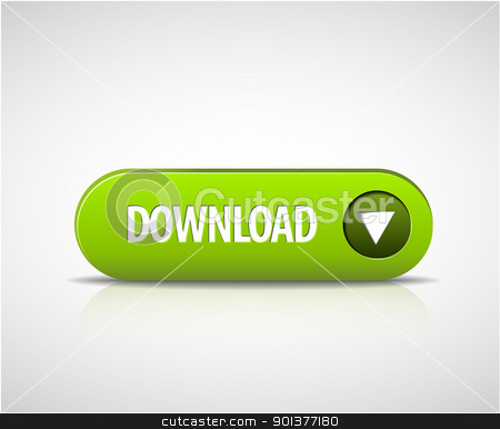 Big green download now button stock vector clipart, Big green download now button with shadow and reflections by orson