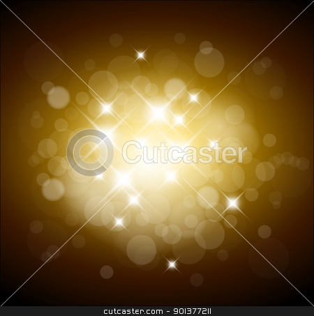 Golden  background with white lights stock vector clipart, Golden  background with white lights and place for your text by orson