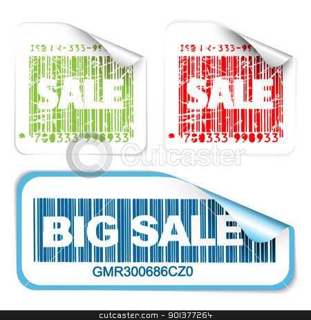 Set of fresh white sale labels  stock vector clipart, Set of fresh white sale labels with bar codes (vivid colors) - see my portfolio for more labels by orson