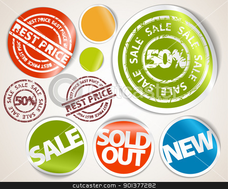 Set of labels and stickers - sale and best price stock vector clipart, Set of labels badges and stickers for sale, hot price, sold, new items by orson