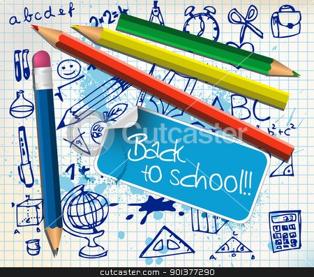Back to school poster stock vector clipart, Back to school poster with paper and color pencils by orson