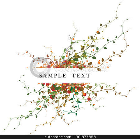 Autumn floral background stock vector clipart, Autumn floral background with place for your text by orson